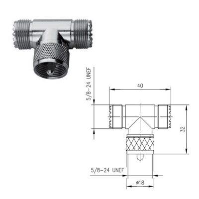 UHF Trójnik Wtyk Gniazdo Telegartner J01042F0649